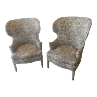 1940's Edward Wormley Wing Back Chairs- A Pair For Sale
