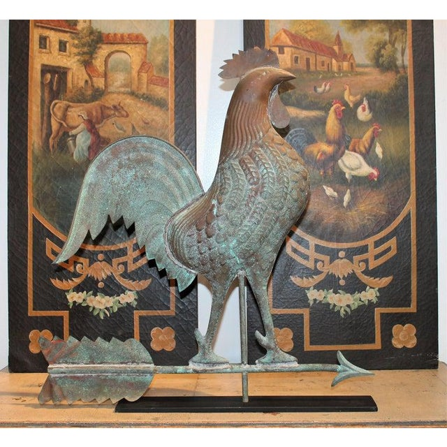 Late 19th Century 20th C. Mounted Roster Weather Vane on Iron Stand For Sale - Image 5 of 9