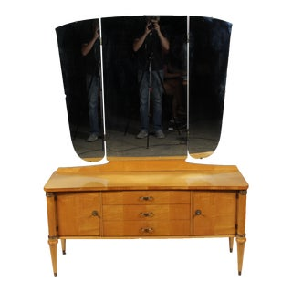 1930's Directoire Maple Dressing Table/ Vanity For Sale