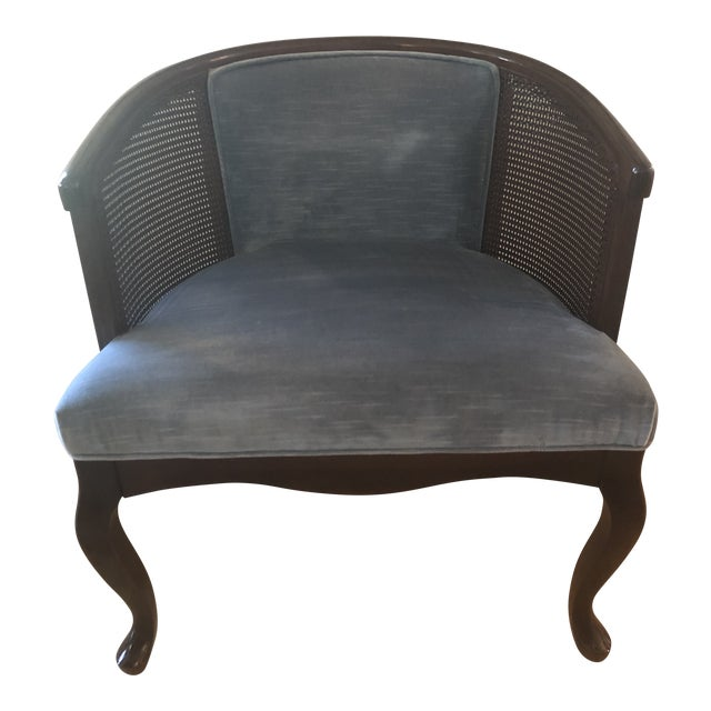 Mid Century Cane and Blue Velvet Barrel Chair by Morganton For Sale
