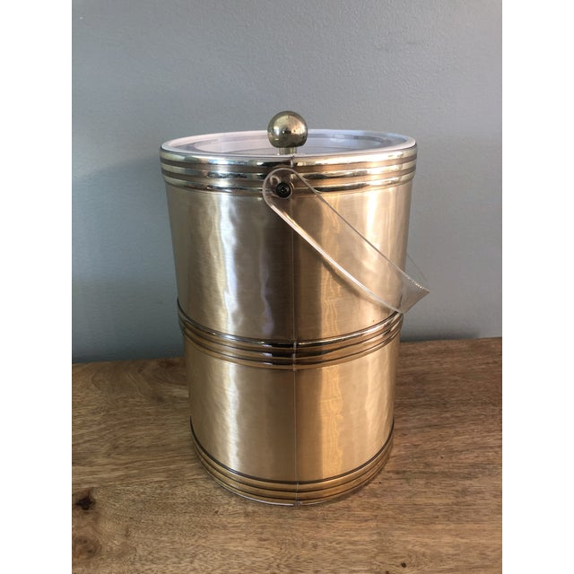 Georges Briard Mid Century Gold Lucite Ice Bucket For Sale In Charleston - Image 6 of 9