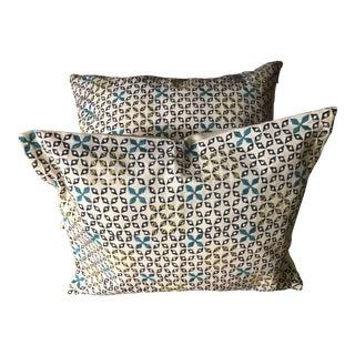Mughal Blue Mahalaxmi Fabric Pillows by Seemakirch Bolsters- a Pair For Sale
