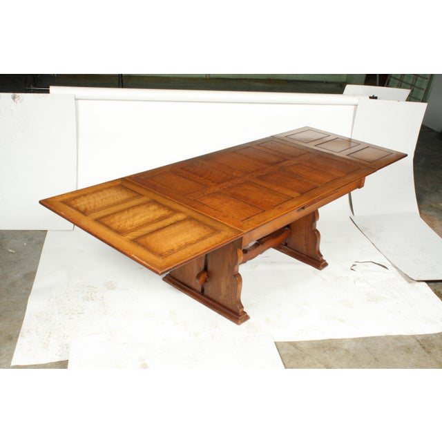 Wood C.1940 Belgian Trestle Dining Table For Sale - Image 7 of 9