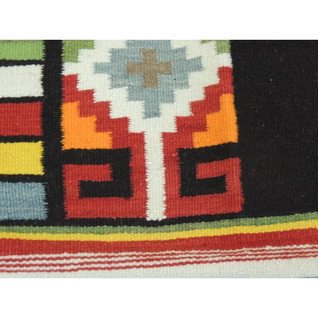 1980s Large Vintage Woven Peruvian Throw With Fringes For Sale - Image 5 of 6