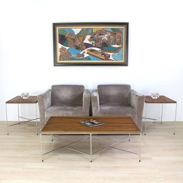 Mid-Century Modern Z Base Stainless Base Wood Top Coffee Table For Sale - Image 9 of 10