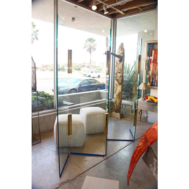 Five-Panel Glass and Brass Hinge Room Divider For Sale - Image 13 of 13