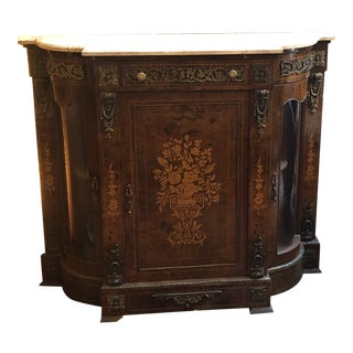 Antique French Louis XV Gilt Ormolu Mounted Foliate Marquetry Inlaid Sideboard For Sale