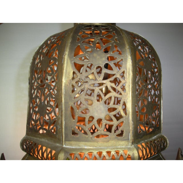 Moroccan Pierced Brass Hanging Lantern For Sale In Washington DC - Image 6 of 12