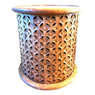 Hand Carved Pierced Round Mango Wood Drum Side Table For Sale