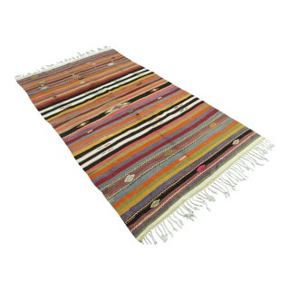 "Vintage Turkish Kilim Rug-5'7'x10'2"" For Sale"