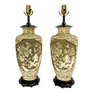 Carved Resin Floral Motif Lamps - a Pair For Sale