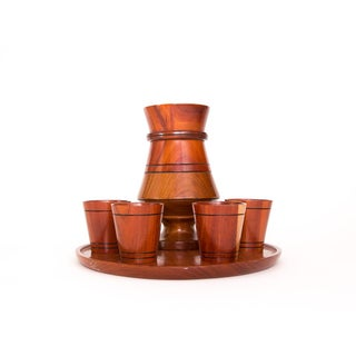 1970s Vintage Wooden Cocktail Serving Set - Set of 6
