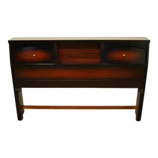 Late 20th Century Stylemaker Furniture Mahogany Full Size Bookcase Headboard For Sale