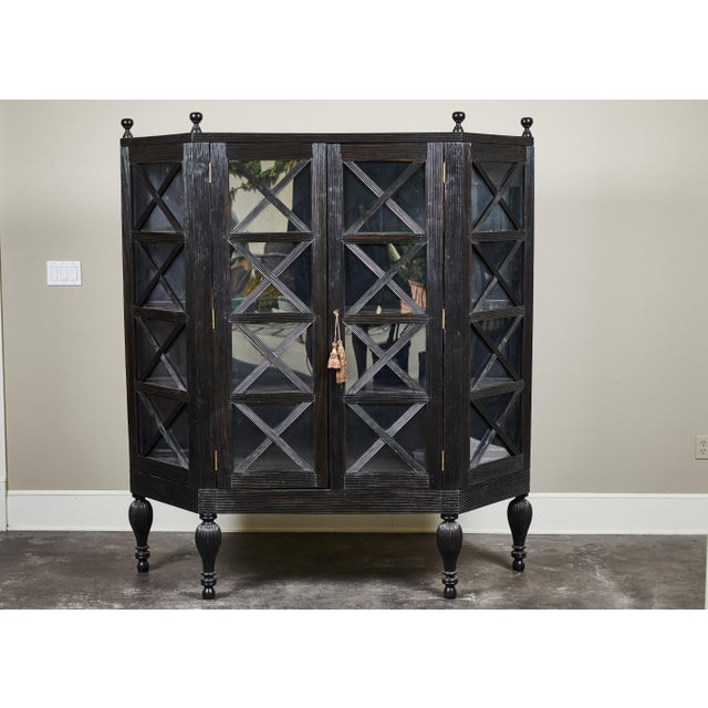 20th C. Ebony British Colonial 2-Door Display Cabinet For Sale - Image 11 of 11
