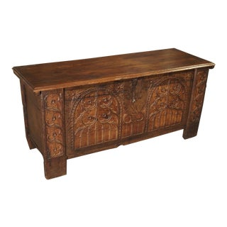 Early 1800s Gothic Style Oak Trunk From Spain For Sale