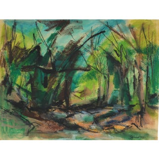 Seymour Tubis Abstracted Forest Landscape in Pastel, 1962 1962 For Sale