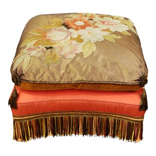 Victorian Ottoman with Needlework and Upholstery For Sale