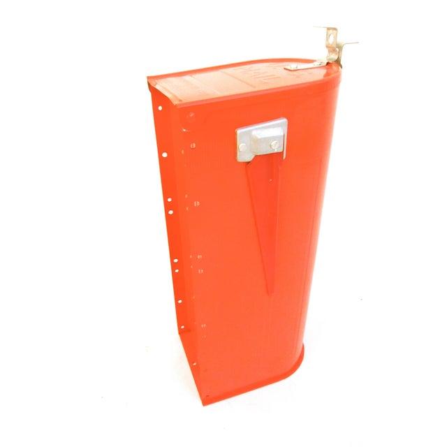 Vintage Industrial Fire Orange Metal Mailbox For Sale - Image 10 of 11