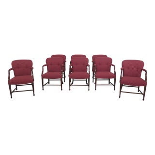 Set of 8 Newly Upholstered Chippendale Mahogany Office Armchairs For Sale