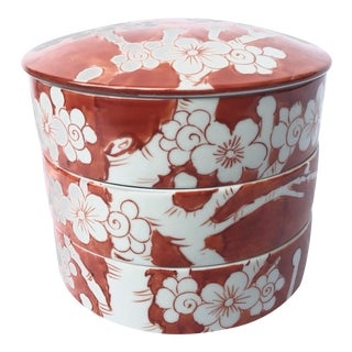 1950s Asian Orange and White Porcelain Bento Box For Sale