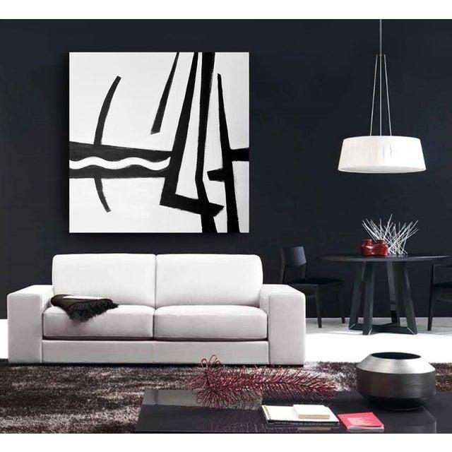 "Franz Kline Kathi Blinn ""Cruisin'"" Contemporary Black and White Acrylic Painting For Sale - Image 4 of 5"