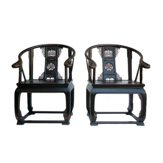 Chinese Black Lacquer Lotus Carving Bold Armchair