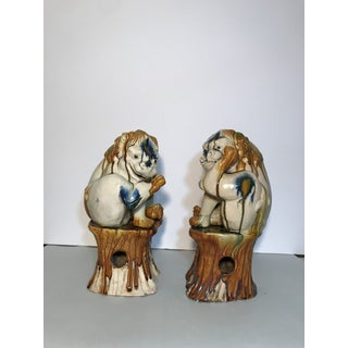 Chinese Lead Glazed Tang Dynasty Style Dogs Statue - a Pair Preview