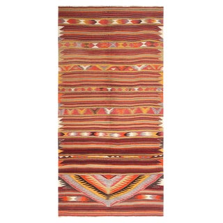 Vintage Mid-Century Geometric Crimson Red and Brown Wool Kilim Rug For Sale