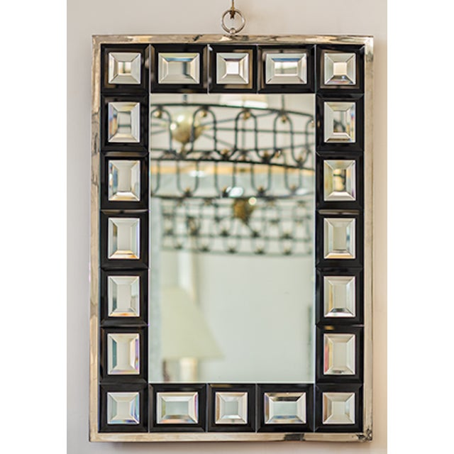 Andre Hayat Mirror Model 'Dakota' nickeled bronze frame & black square mirror.