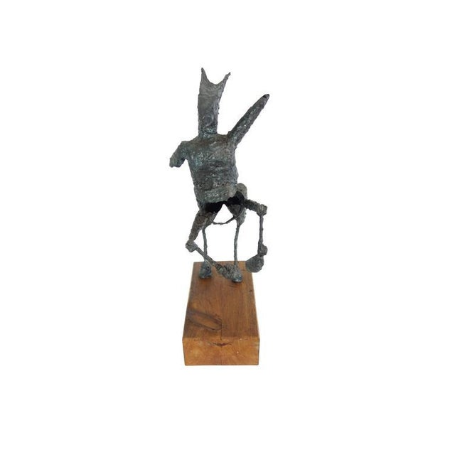 Abstract Steel Centaur Sculpture on Wood Base For Sale - Image 3 of 10