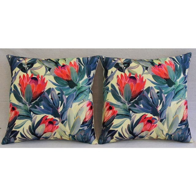 "18"" Colorful Tropical Protea Floral Feather/Down Pillows - a Pair - Image 6 of 11"