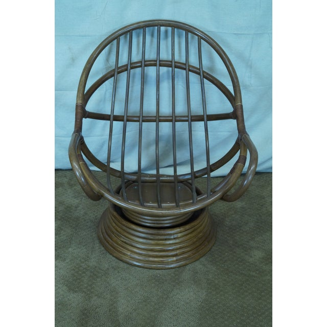 Quality Rattan Swivel Rocking Lounge Chairs - Pair - Image 8 of 10