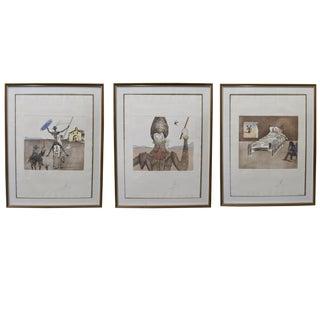 1980s Salvador Dali Collection Don Quixote Man of La Mancha Hand-Signed Etchings Aquatint - Set of 3 For Sale