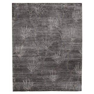 Oxford Dark Gray/Gray Hand knotted Bamboo/Silk Area Rug - 6'x9' For Sale