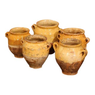 "Five Small 19th Century French Yellow Glazed ""Confit Pots"" From the Perigord For Sale"