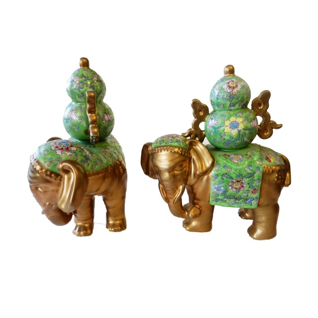 Famille Verte Style Elephants - a Pair For Sale - Image 4 of 10