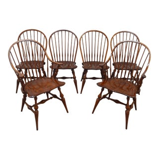 Set of Six Stickley Cherry Windsor Dining Chairs For Sale