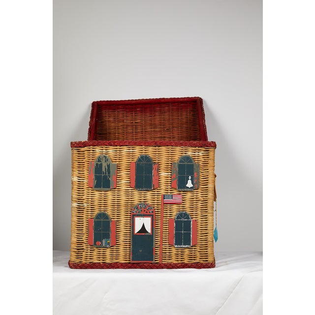 Vintage Schoolhouse Toy Box of Wicker For Sale - Image 4 of 11