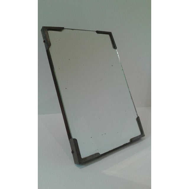 Early 20th Century Vintage Beveled Glass Travel Shaving Mirror For Sale - Image 5 of 10