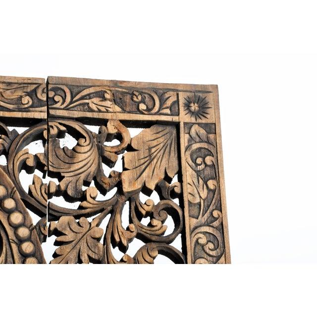 Wood Southeast Asian Carved Teak Flower Panel For Sale - Image 7 of 13
