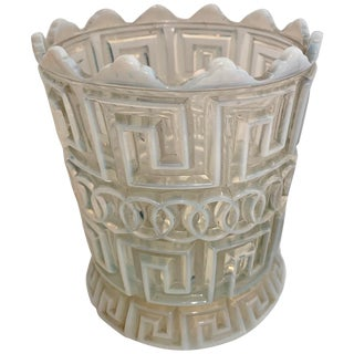 White Opalescent Double Greek Key Vase For Sale
