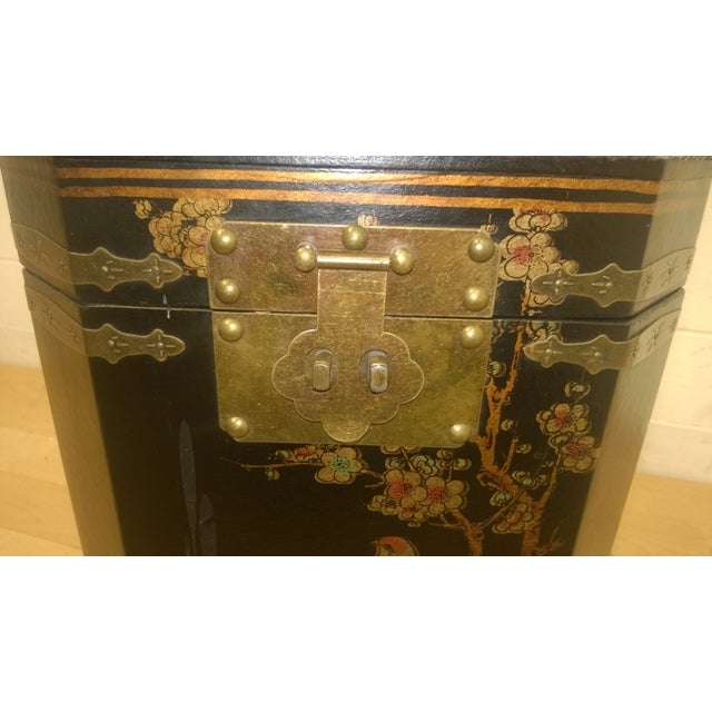 Asian Motif Painted Wood Umbrella Stand - Image 6 of 10