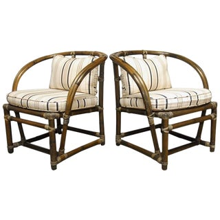 McGuire Bamboo Barrel Back Chairs - A Pair