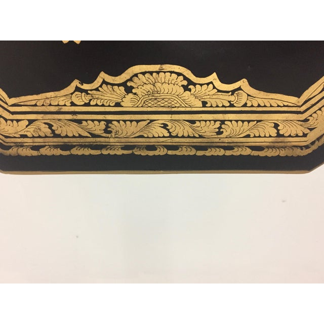 Anglo-Indian Burmese Black and Gold Octagonal End Table For Sale In Philadelphia - Image 6 of 11