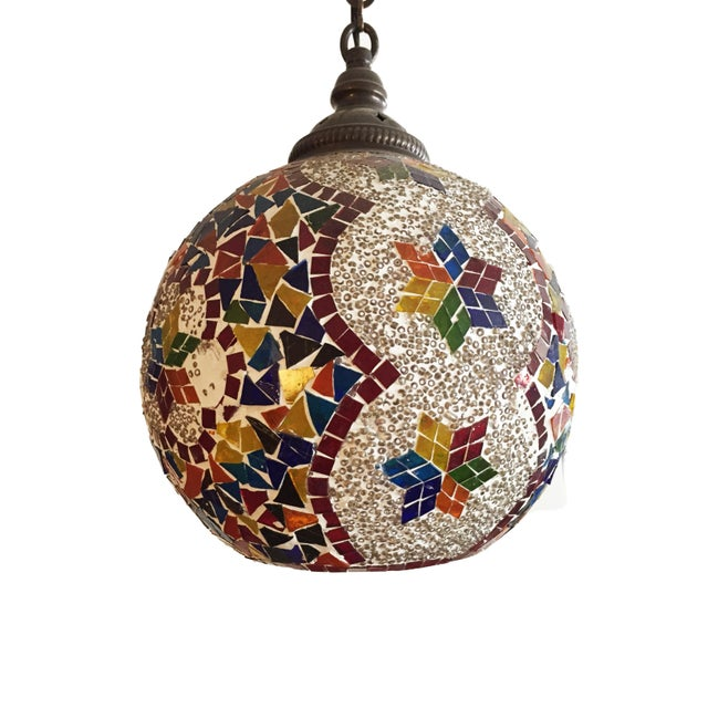 Turkish Mosaic Ceiling Round Lamp For Sale In New York - Image 6 of 10
