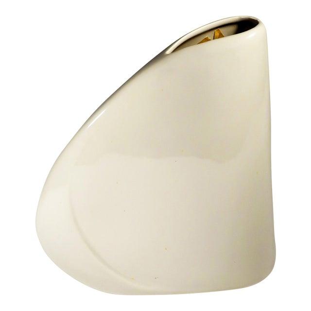 1980s Haeger White Art Deco Asymmetrical Vase For Sale
