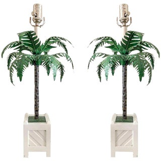 Tole Palm Tree Lamps by Maison Bagues, Pair For Sale