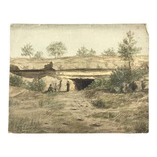 1878 Watercolor Painting of a Landscape Scene With a Man and Woman With a Child on Her Back For Sale