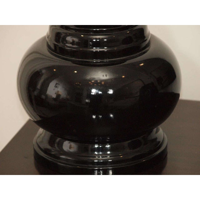 Black Lacquer Table Lamps - A Pair For Sale In New Orleans - Image 6 of 8