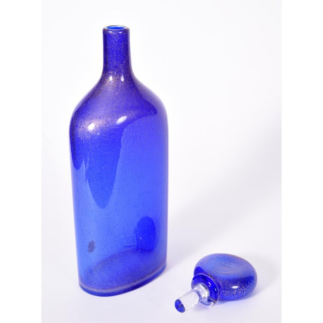 Cobalt Blue Murano Glass With Gold Flecks Decanter For Sale - Image 4 of 9